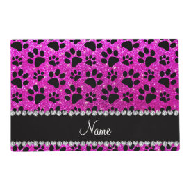 Custom name neon pink glitter black dog paws laminated placemat