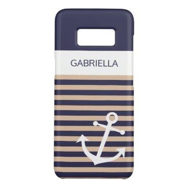 Custom Nautical Bone Taupe Beige Striped Pattern Case-Mate Samsung Galaxy S8 Case