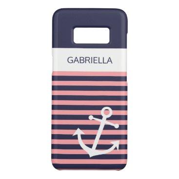 Custom Nautical Light Coral Pink Striped Pattern Case-Mate Samsung Galaxy S8 Case