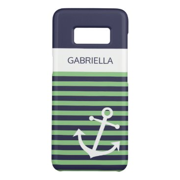 Custom Nautical Lime Sage Green Striped Pattern Case-Mate Samsung Galaxy S8 Case