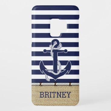 Custom Nautical Trendy Anchor Stripes Pattern Case-Mate Samsung Galaxy S9 Case