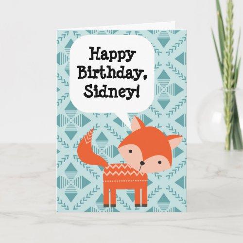 Custom Personalized Children's Birthday Red Fox Card