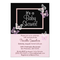 Custom Pink Butterfly Baby Shower Invitations Card