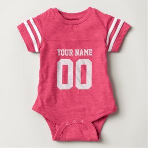 Custom pink football jersey number baby bodysuit