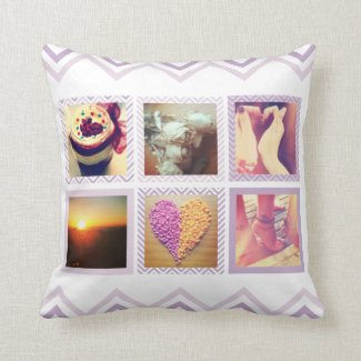 Custom Purple Chevron Instagram Pillow