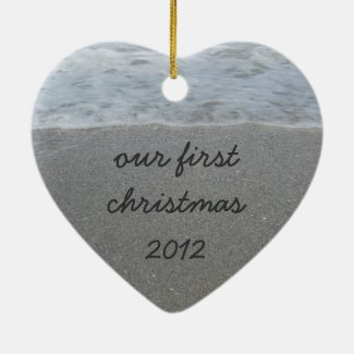 Custom Sand Heart Our First Christmas Ornament