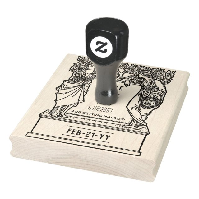 Custom Save the Date ART Noveau Deco Vintage Rubber Stamp