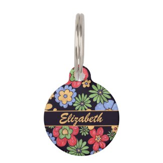 Custom Vivid Colorful Flowers to Personalize Pet Name Tags