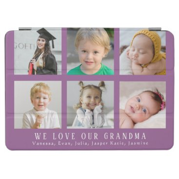 Custom We Love Our Grandma Purple Photo Collage iPad Air Cover