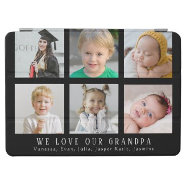 Custom We Love Our Grandpa Black Photo Collage iPad Air Cover