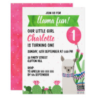 Customisable Llama Balloon Birthday Invitation