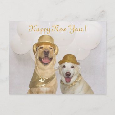 Customizable Dog/Lab Happy New Year Holiday Postcard
