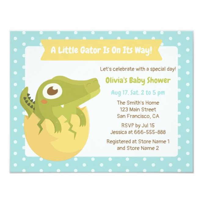 Cute Alligator In Egg Boy Baby Shower