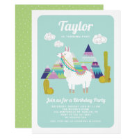 Cute Alpaca Colorful Kids Birthday Invitation