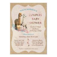 Cute Alpaca Family Couples Baby Shower Invitation