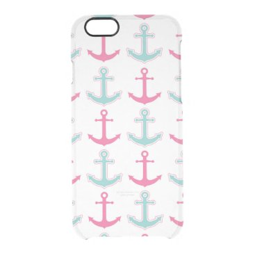 Cute Anchor Pattern Pink and Aqua Clear iPhone 6/6S Case