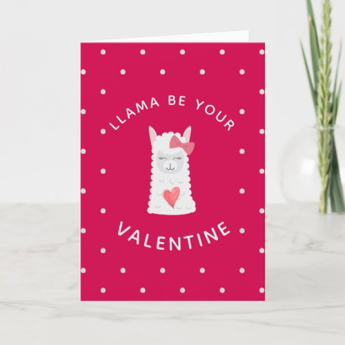 Cute and Funny LLama Valentine's Day Holiday Card