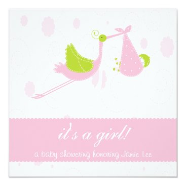 """Cute and Pink """"it's a girl"""" Baby Shower Card"""
