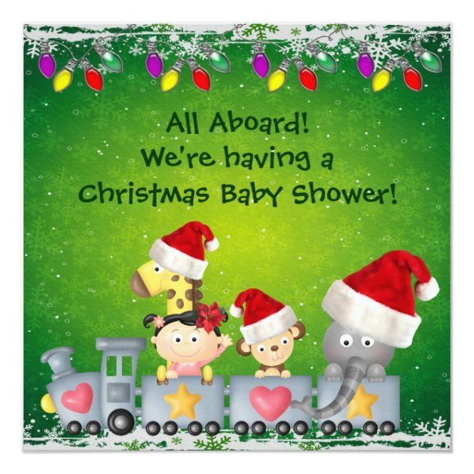 Train Christmas Baby Shower Invitation