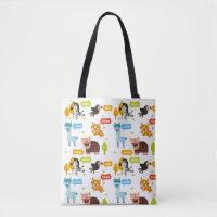 Cute Animals Kids Pattern Tote Bag