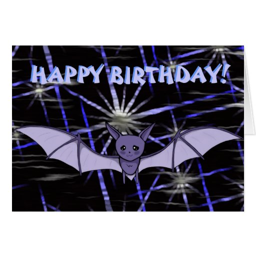 Cute Anime Baby Bat Koumori Birthday Night Sky Card Zazzle