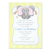Cute Baby Elephant Birthday or Shower Invitation