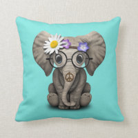 Cute Baby Elephant Hippie Throw Pillow