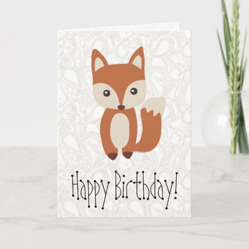 Cute Baby Fox Birthday Greeting Card