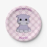 Cute baby hippo cartoon birthday girls paper plate