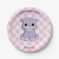 Cute baby hippo cartoon birthday girls paper plate
