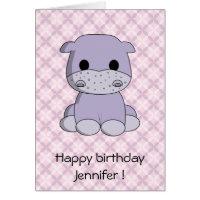 Cute baby hippo cartoon kids birthday card