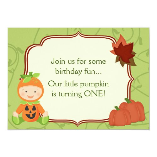 Cute Baby in Pumpkin Costume 1st Birthday Invite