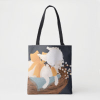 Cute baby llama (alpaca) with bow and flowers tote bag