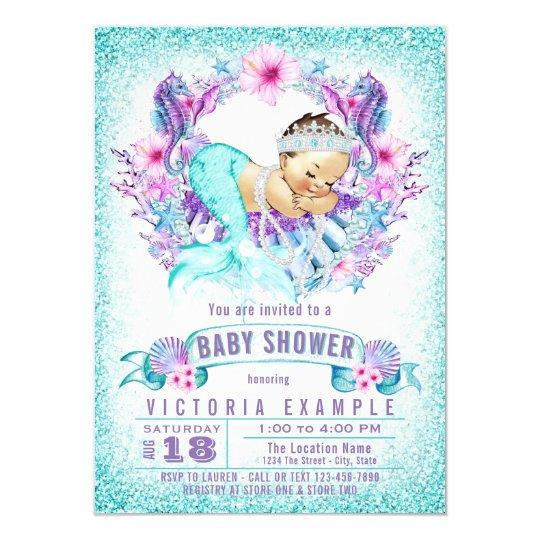 Cute Baby Mermaid Shower Invitations