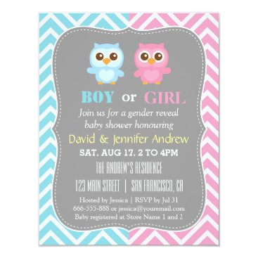 Cute Baby Owl Theme Chevron Gender Reveal Party Invitation