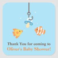 Cute Bait Fishing Baby Shower Thank You Stickers