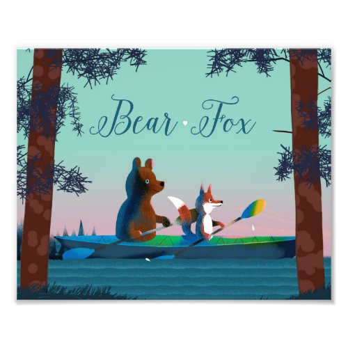 Cute Bear and Fox kayaking on a wild forest river Photo Print