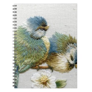 Cute Bird Embroidery Spiral Note Books