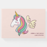 Cute Birthday Doodle Flying Rainbow Unicorn Guest Book