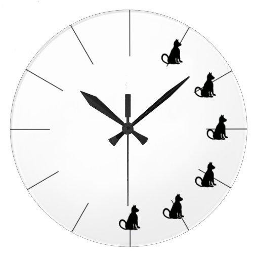 Cute Black and White Cat Clock CricketDiane