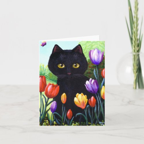 Cute Black Cat Art Tulips Flowers Creationarts Holiday Card