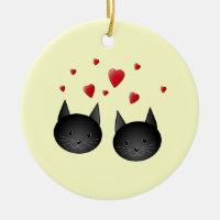 Cute Black Cats with Hearts, on cream. Ceramic Ornament