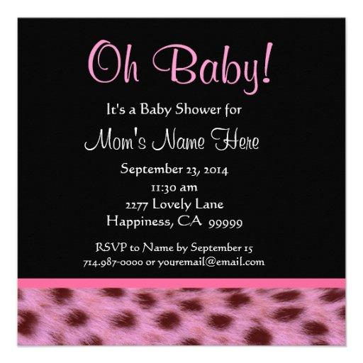 Cute Cheetah Invitations Baby Shower