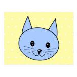 Cute Blue Cat Cartoon Postcard