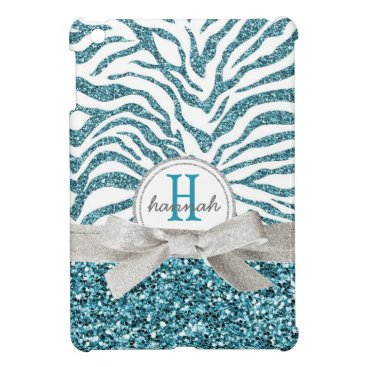 Cute Blue Glitter Look Zebra with Monogram Bow Cover For The iPad Mini