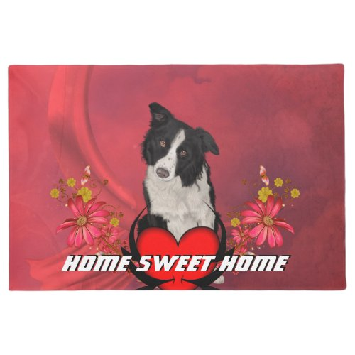 Cute border collie doormat