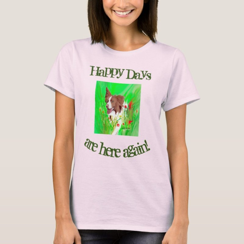 Cute Border Collie in the Beautiful Flower Field T-Shirt