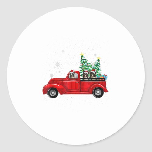 Cute Border Collies Riding Red Truck To Classic Round Sticker