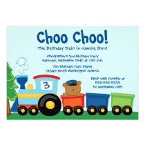 Cute boy's train bear birthday party invitation