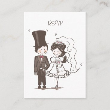 Cute Bride and Groom Wedding RSVP Cards
